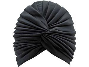 Black Radiant Pleated Turban Bathing Cap