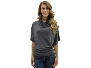 Charcoal Gray Asymmetrical Cut Bell Sleeves Knit Top