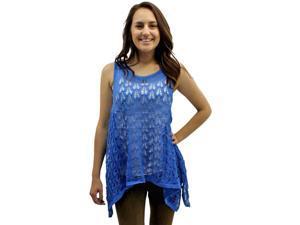 Cobalt Blue Sleeveless Open Crochet Knit High-Low Tank Sweater Top