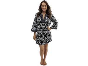 Black & White Unique Ikat Print Swimsuit Beach Cover-Up Tunic Dress