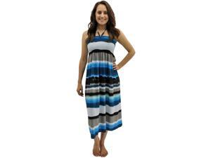 Blue Colorful Striped Smocked Beaded Halter Top Sun Dress