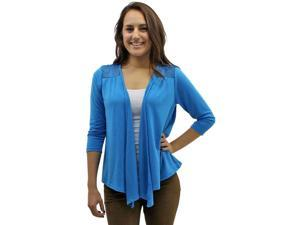 Blue 3/4 Long Sleeve Cardigan Shrug With Lace Shoulders