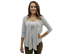Light Beige 3/4 Long Sleeve Cardigan Shrug With Lace Shoulders