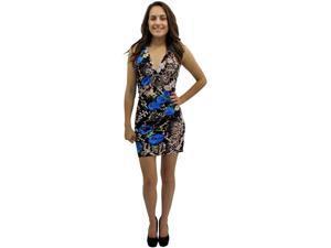 Blue Floral & Snake Print Self Tie O-ring Halter Summer Sun Dress