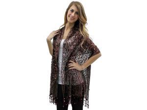 Brown Long Sequin Shoulder Shawl Wrap