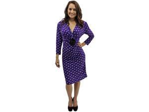 Purple & White Long Sleeve Polka Dot Below The Knee Dress