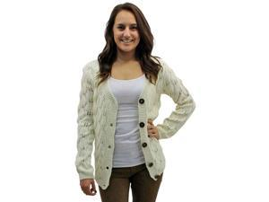 Ivory Gorgeous Intricate Knit Long Sleeve V-Neck Cardigan Sweater