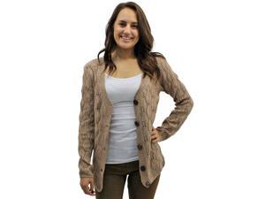 Taupe Gorgeous Intricate Knit Long Sleeve V-Neck Cardigan Sweater