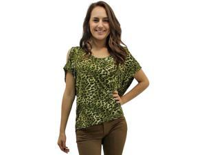 Olive Green Wild Animal Print Peek-A-Boo Shoulders Hi Lo Top