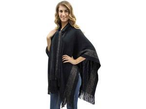 Black Two-Tone Fringed Shawl With Attached Scarf
