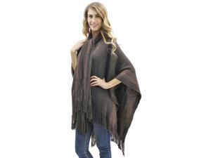 Brown Two-Tone Fringed Shawl With Attached Scarf