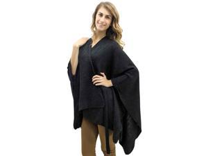 Black Kimono Style Sequin Accent Shawl Wrap With Belt