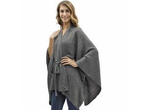 Gray Kimono Style Sequin Accent Shawl Wrap With Belt