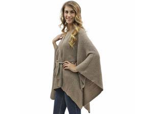 Tan Kimono Style Sequin Accent Shawl Wrap With Belt