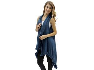 Blue Thin Knit Sweater Vest Wrap With Fringe Edge