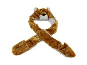 Tan Plush Lioness Animal Character Hat Scarf