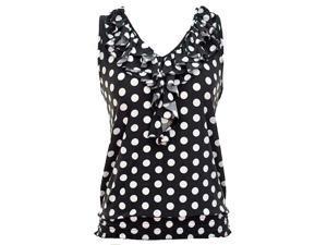 Black & White Polka Dot Sleeveless Ruffled Neckline Top