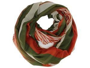 Olive Orange Multicolor Stripe Spring Circle Scarf