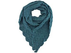 Teal Blue Chevron Knit Triangle Scarf