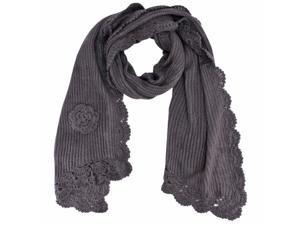 Gray Thick Crochet Knit Scarf With Rosette Trim