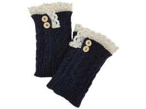 Steel Blue Cable Knit Boot Cuff Topper Leg Warmer With Lace Trim