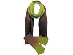 Green & Brown Gradient Dip Dyed Arm Warmers & Scarf Set