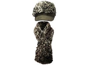 Gray Leopard Animal Print Plush Hat & Scarf Set