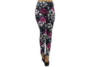 Pink Black Gray Face Print Leggings
