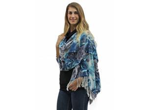 Blue Rose Floral Pashmina Shawl Wrap