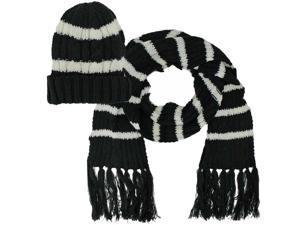 Black Stripe Knit Beanie Cap 2 Piece Hat & Scarf Set