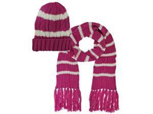 Hot Pink Stripe Knit Beanie Cap 2 Piece Hat & Scarf Set