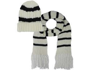 Ivory Stripe Knit Beanie Cap 2 Piece Hat & Scarf Set