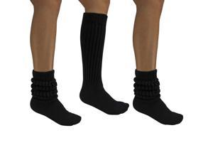 All Cotton Black 3 Pack Extra Heavy Super Slouch Socks