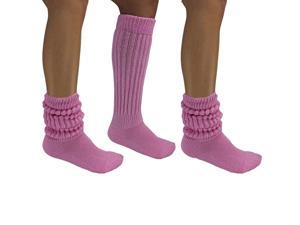 Pastel Pink All Cotton 3 Pack Extra Heavy Slouch Socks