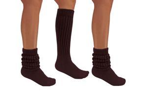 Brown All Cotton 3 Pack Extra Heavy Slouch Socks