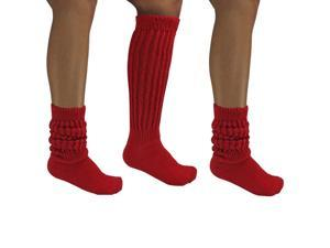 Red All Cotton 3 Pack Extra Heavy Slouch Socks