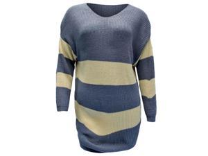 Grey & Cream Striped V-Neck Knit Long Sleeve Pullover Sweater