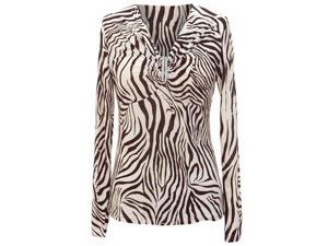 Brown & Cream Zebra Print Rhinestone Gathered Long Sleeve Top