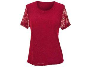 Burgundy Paisley Pattern Lace Lined Short Sleeve Blouse Top