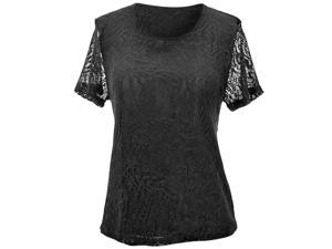 Black Paisley Pattern Lace Lined Short Sleeve Blouse Top