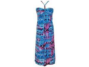 Blue & Pink Water Color Print Maxi Halter Top Summer Dress