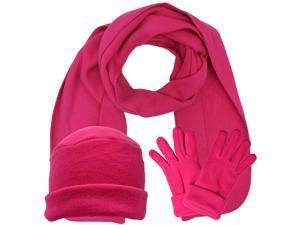 Hot Pink 3 Piece Fleece Hat Scarf & Glove Matching Set