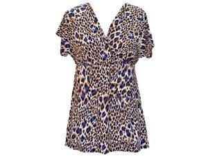 Blue Leopard Print Empire Waist V-Neck Short Sleeve Top