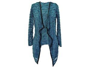 Teal Blue Scalloped Knit Long Sleeve Cardigan Shrug With Black Trim