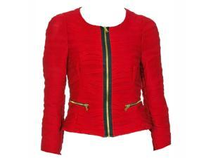 Red Junior Cut Long Sleeve Front Zippered Pleated Jacket
