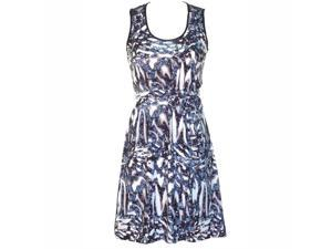 Blue Artistic Print Empire Waist Multicolor Dress With Lace Back