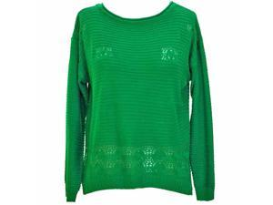 Green Long Sleeve Slouchy Loose Fit Open Knit Sweater