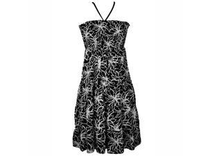 Black & White Floral Print Halter Style Sun Dress