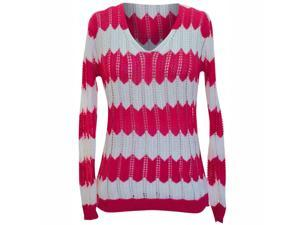 Hot Pink & White Chevron Striped Summer Knit Long Sleeve Sweater