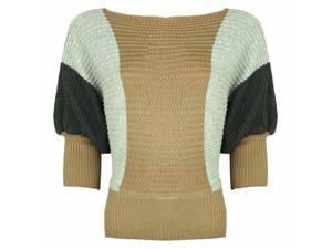 Brown & Two-Tone Gray Dolman Sleeve Knit Sweater Top